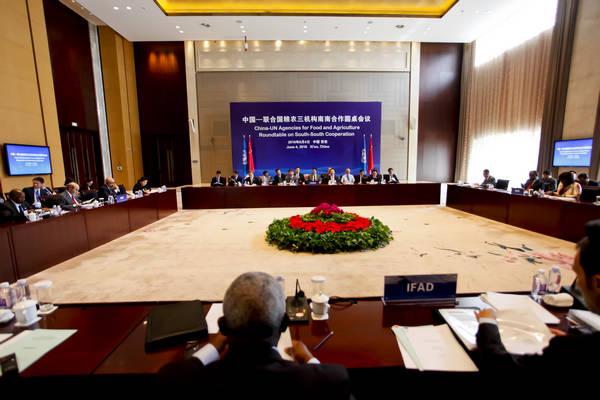 6月4日,中国—联合国粮农三机构南南合作圆桌会议在陕西西安举行,图为会场全景。